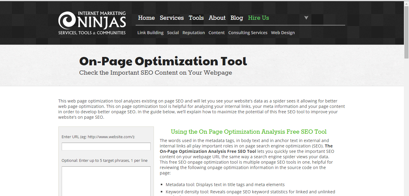 internet marketing ninjas onsite optimization tool