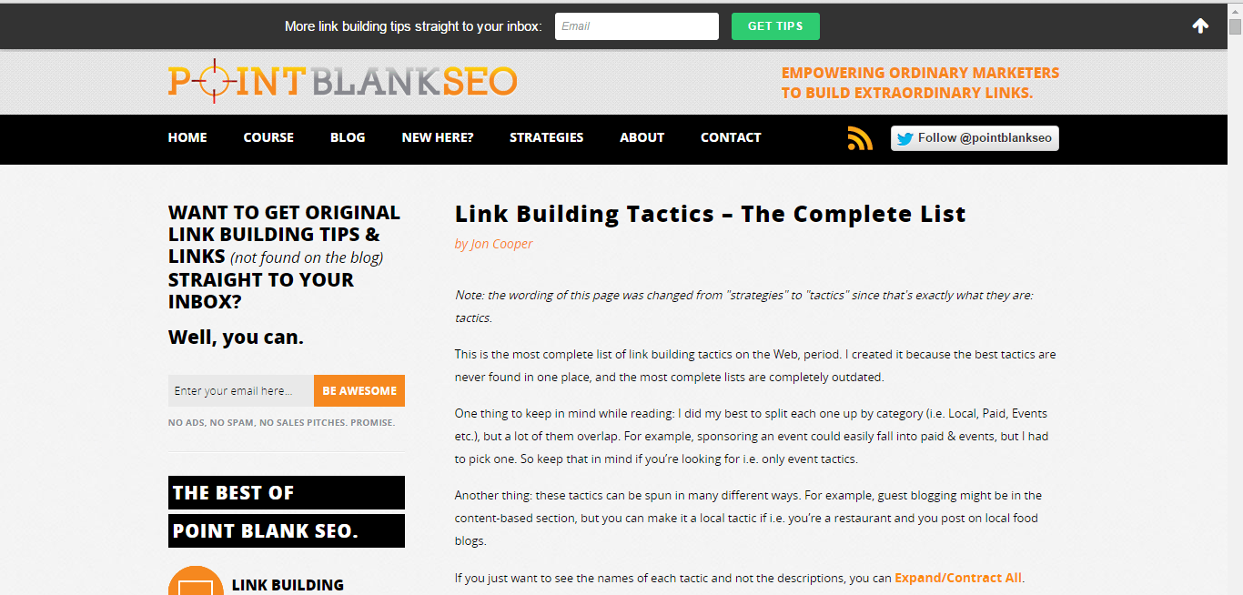 point blank seo link building tactis