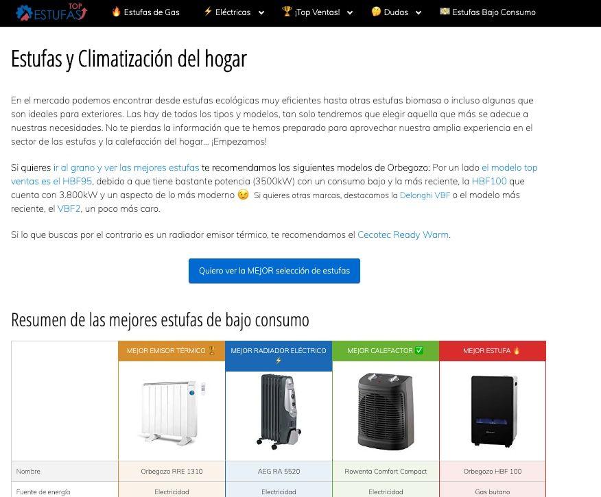 EstufasTOP, ejemplo de un blog de afiliación