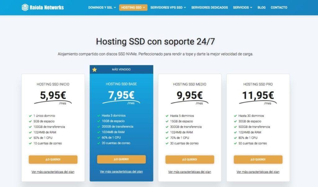Planes de Hosting SSD de Raiola