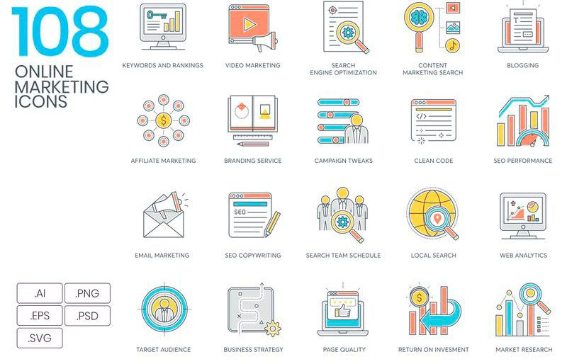 Paquete de 108 Iconos Lineales para Proyectos de Marketing
