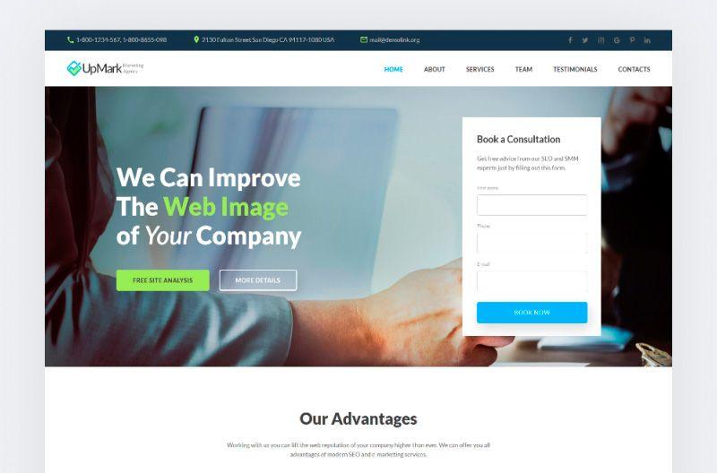 UpMark - Plantilla de Página de Aterrizaje para Empresa de Mercadotecnia